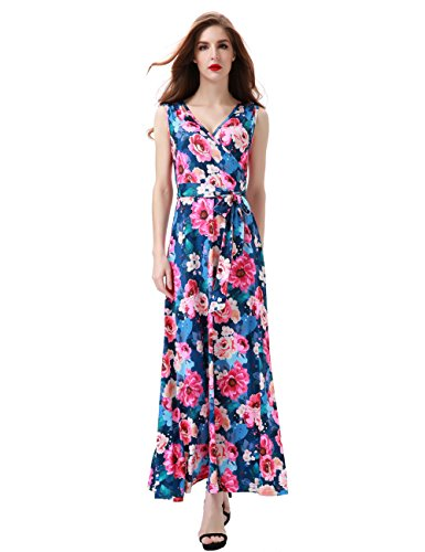 Dress Floral Silk Maxi (Aphratti Women's Bohemian Sleeveless V Neck Wrap Front Maxi Long Dress Large Navy Floral)