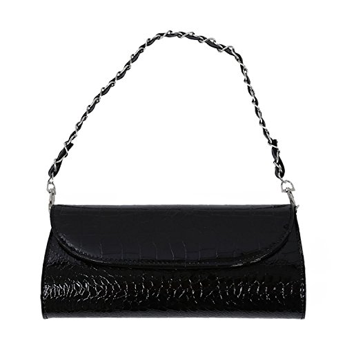 TOOGOO(R) Bolsa De Moda Nueva Billetera De La Cadena Bolsa De Hombro Para Las Mujeres Clutch Con Textura De Cocodrilo De Cuero - Rojo Negro