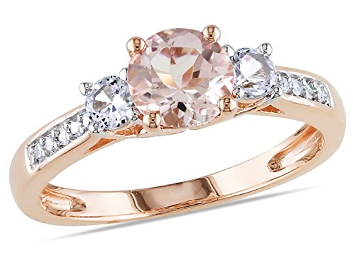 - Morganite and Created White Sapphire Three Stone Ring 1.20 Carat (ctw) with Diamonds in 10K Rose Gold