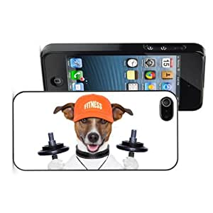 Apple iPhone 4 4S 4G Black 4B772 Hard Back Case Cover Color Jack Russell Dog Training Dumbbells Whistle Hat
