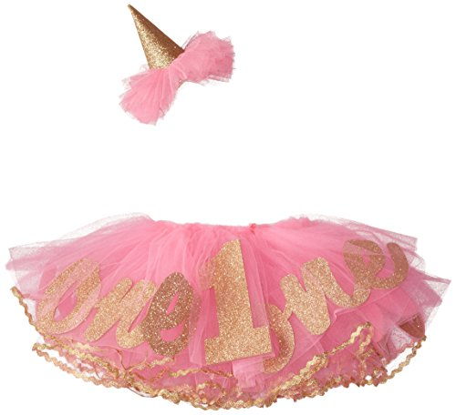Mud Pie Baby Girls' Glitter Party Hat Headband and Tutu Set, One, 0-12 Months