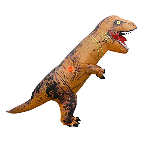 Inflatable Dinosaur Costume Kids Dress Up Funny T-rex Inflatable Costume for Halloween Cosplay Dino Suit (Brown)