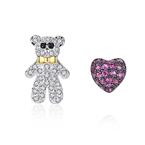 Platinum Plated Toddler Earrings, Girls Earrings, Teddy Bear & Heart Cubic Zirconia Stud Earrings, CZ Fashion Studs for Girls (Teddy Pave)