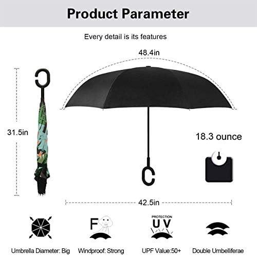 赤ちゃんナマケモノ ユニセックス二重層防水ストレート傘車逆折りたたみ傘C形ハンドル付き