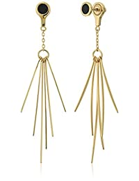 Rebecca Minkoff Leather Inlet with Needle Front Back Drop Earrings