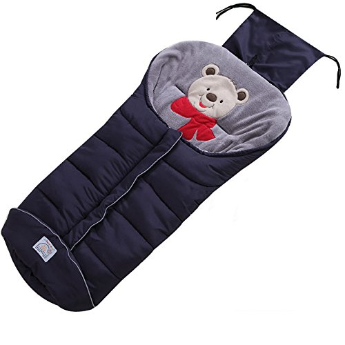 Fairy Baby Universal Baby Stroller Bunting Bag Cartoon Bear Polyester Footmuff(0-36Months,Navy Blue)