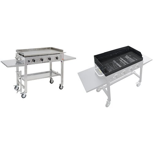 Blackstone 36 inch Stainless Steel Outdoor Flat Top Gas Grill Griddle Station – 4-burner – Propane Fueled – Restaurant Grade – Professional Quality with Grill Top