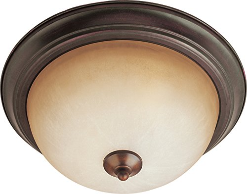 (Maxim 5840WSOI Essentials 1-Light Flush Mount, Oil Rubbed Bronze Finish, Wilshire Glass, MB Incandescent Incandescent Bulb , 40W Max., Dry Safety Rating, 2900K Color Temp, Standard Dimmable, Glass Shade Material, 4500 Rated Lumens)