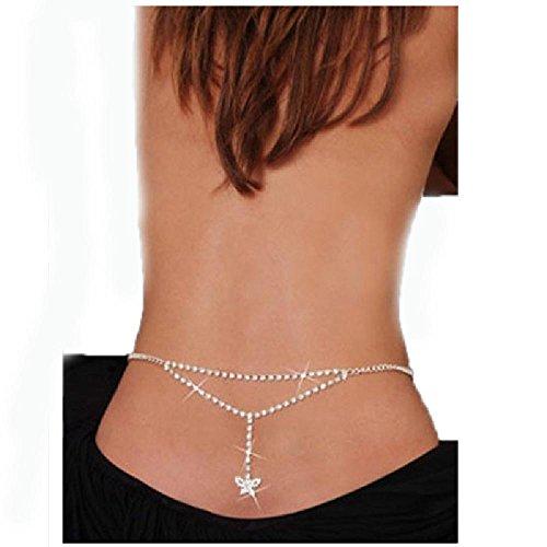 Crystal Body Chain Belly Waist Back Silver For Bikini Dance Summer Jewelry 2 onesize