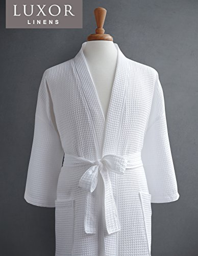 Luxor Linens Waffle Weave Spa Bathrobe - Ciragan Collection - Luxurious, Super Soft, Plush & Lightweight - 100% Egyptian Cotton, Made in Turkey (Single Robe, No Monogram)