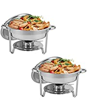Restlrious Round Chafing Dishes Stainless Steel Foldable Chafers and Buffet Warmers Sets w/Water Pan, Food Pan, Fuel Holder and Lid 5 QT
