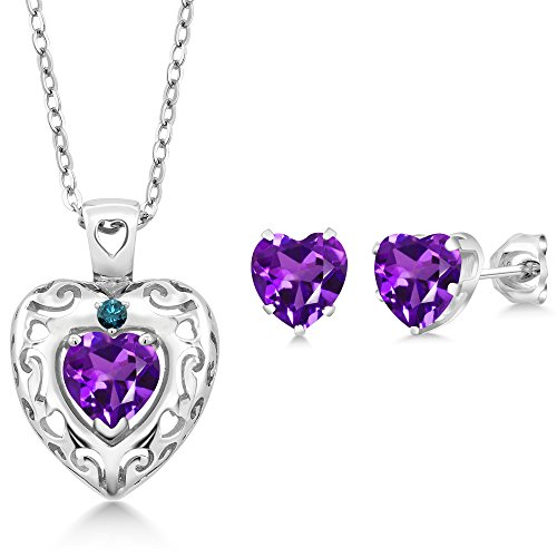 Amethyst Diamond Pendant Watch (1.97 Ct Purple Amethyst Blue Diamond 925 Sterling Silver Pendant Earrings Set)