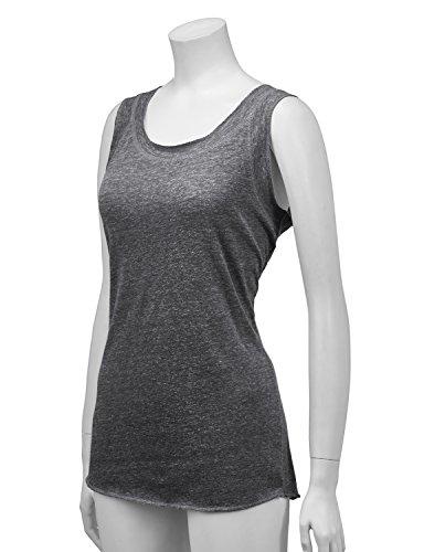 Regna X Womens Sleeveless Basic Solid Long v Neck Triblend Tank Tops Black M by Regna X (Image #4)