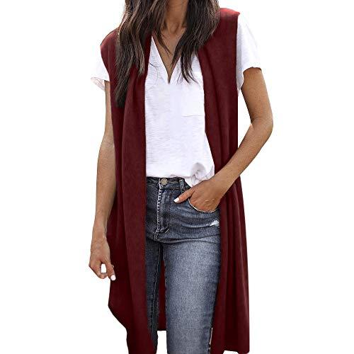Women's Sleeveless Open Front Pocket Causal Lightweight Kimono Cardigan Coat