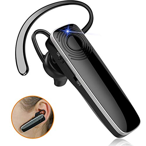 New bee Bluetooth Earpiece V5.0 HD Stereo Ultralight Wireless Handsfree Headset 12Hrs Talktime Noise Cancelling Mic Driving Headset Compatible with iPhone Android Businessman Driver Trucker