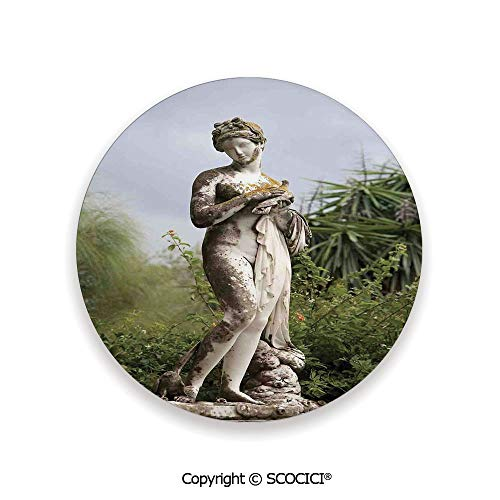 Ceramic Coaster With Cork Mat on the back side, Tabletop Protection for Any Table Type, round coaster,Sculptures Decor,Sculptured Figure among Greenery on the,3.9