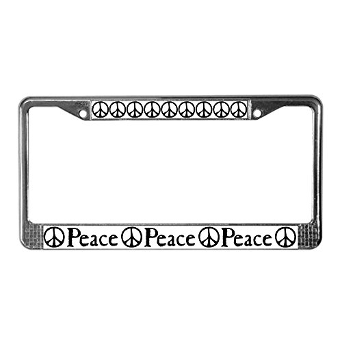 CafePress Flowing 'Peace' Sign License Plate Frame Chrome License Plate Frame, License Tag -