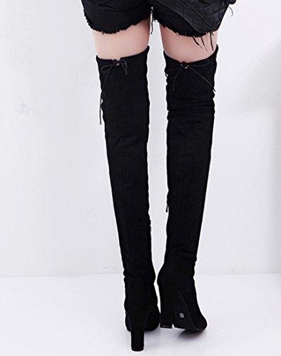 Black Slim Snap Black elegante gamba Outdoor stivali shoes elongate Taottao stivali ginocchio 41 il la coscia lengthened tacchi alti lunghi type stretch sopra donne Street OxPSB0