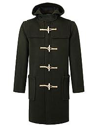 Mens Duffle Coat Classic Fit -- Wooden Toggles - Olive