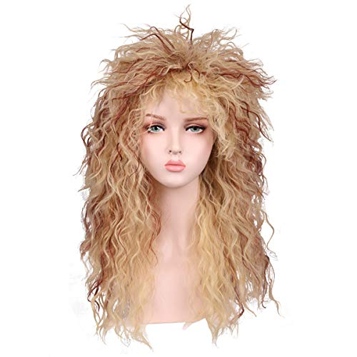 Fantalook Women Long Curly 80s Blonde with Reddish Brown Cosplay Wig]()