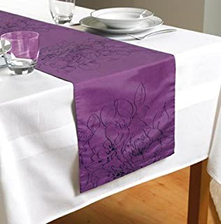 Country Club Embroidered Rose Purple Table Runner