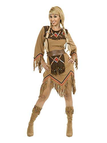 Charades Women's Sacajawea Indian Maiden Costume Set, Tan, -