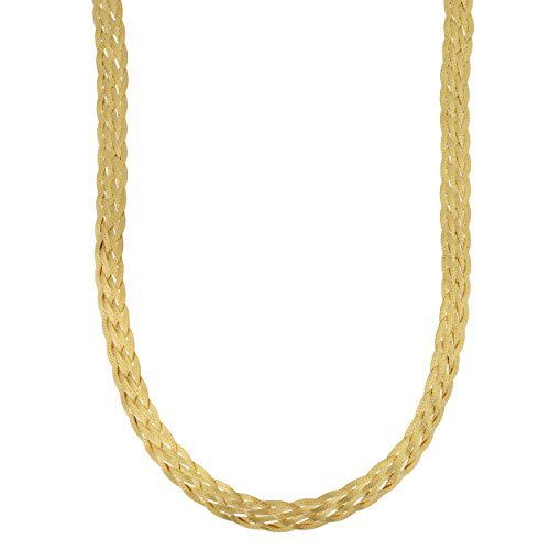 - Kooljewelry Yellow Gold Plated Sterling Silver Braided Herringbone Chain Necklace (6.3 mm, 18 inch)