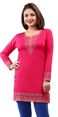 Maple Clothing Kurti Top From India Tunic Women's Printed Blouse Indian Clothing (Pink, - India Shop