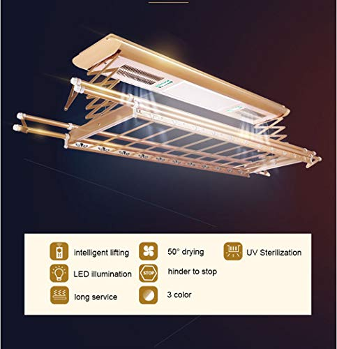 Electrical Drying Rack Ceiling Mounted Clothes Drying Rack with LED Light, Drying Fan, UV Sterilization Remote Control (Color : Silver, Wattage : 110v) by LHFJ (Image #2)