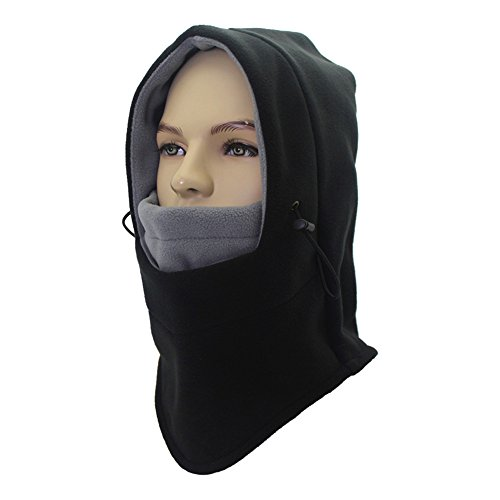 Winter Balaclava Face Mask for Men Women Child, Fleece Windproof Ski Face Mask, Balaclava Hood (Black&grey)