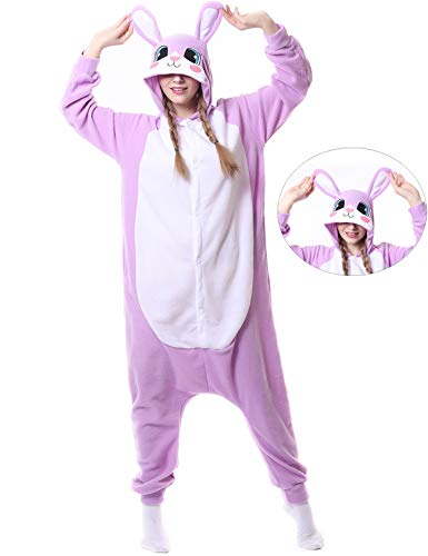 Rabbit Onesies Adult Pajamas Animal One Piece Cosplay Halloween Costume for Women Men