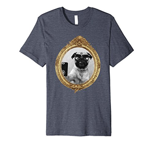 Mens Cute Pug Dog Shirt | Canine Selfie Sunglasses T Shirt Small Heather - Sunglasses Canine