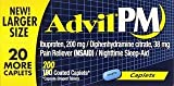 Advil PM Pain Reliever/Nighttime Sleep Aid, Ibuprofen and Diphenhydramine 3 Pack (200 Coated Caplets)
