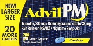 Advil PM Pain Reliever/Nighttime Sleep Aid, Ibuprofen and Diphenhydramine (1 Pack ,200 Coated Caplets) ()