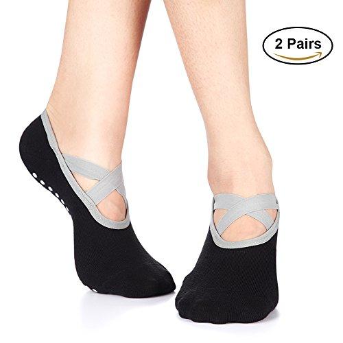 Yoga Socks for Women Non-Skid Socks with Grips Anti-Skid Pilates Socks (2 pairs Black2) by Huisen (Image #1)