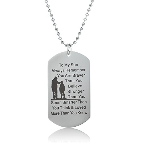 Always Remember You are Braver Than You Believe Father to Son Necklace from ()
