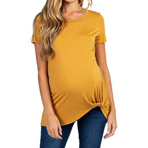 SAYEI Women's Maternity Short Sleeve Solid Crew Neck Tie Pregnancy Solid T-Shirt Yellow]()