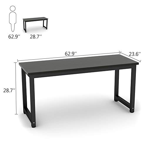 Tribesigns Modern Computer Desk, 63'' Large Office Desk Computer Table Study Writing Desk for Home Office, Black Metal Frame by Tribesigns (Image #6)