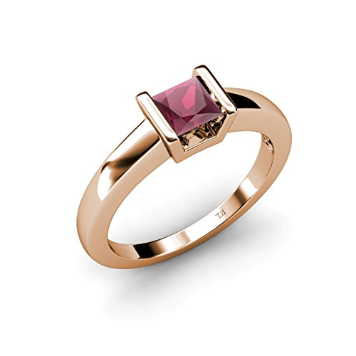 Rhodolite Garnet Princess Cut Channel Set Solitaire Ring 1.05 ct in 14K Rose Gold.size 7.5