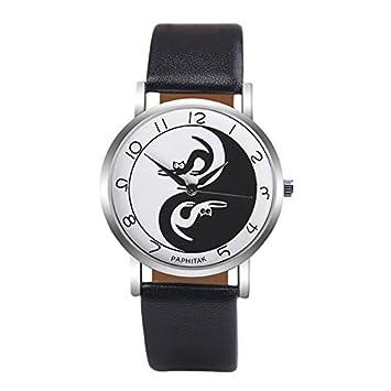 Mingxiao Banda Linda Reloj de Pulsera de señora Gato de Cuero de la PU Reloj de Cuero analógico Reloj de Pulsera de Cuarzo Regalos para la Fiesta: ...