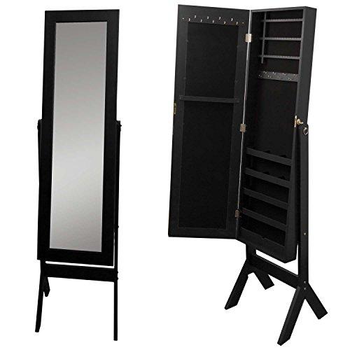 Schmuckschrank mit Spiegel 159x37x40cm Spiegelschrank Schmuckkasten Standspiegel Schmuckkommode Schmuck Spiegel Schwarz