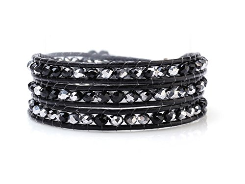 black-and-silver-crystals-wrap-bracelet-genuine-black-leather-hand-knotted-multilayer-4mm-beads