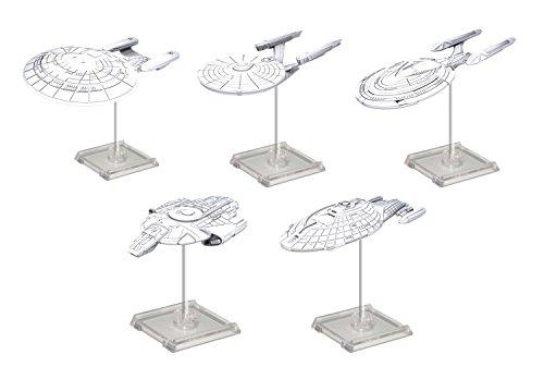 WizKids Star Trek Deep Cuts Unpainted Miniatures Federation Ships Bundle: Galaxy Class, Constitution Class, Sovereign Class, Defiant Class, and Intrepid Class