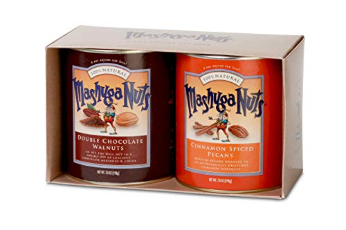 Mashuga Nuts | 2 Tin Gift Pack | Spiced Pecans and Chocolate Walnuts | Gift Nuts | All Natural Flavors | Natural, Non-GMO and Kosher | Product of USA -