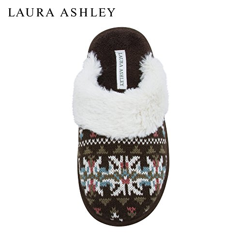 Laura Ashley Ladies Knit Open Back Cushioned Slippers with Plush Collar (See More Colors and Sizes) Brown uIJMqwpVF