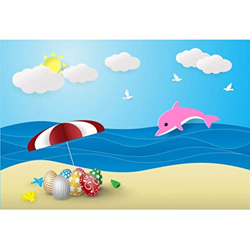 (Laeacco Easter Theme 5x3ft Vinyl Photography Background Cartoon Blue Sea Jumping Whale Seaside Beach Easter Eggs Childish Illustration Backdrop Easter Egg Hunt Day Banner Greeting Card Wallpaper)