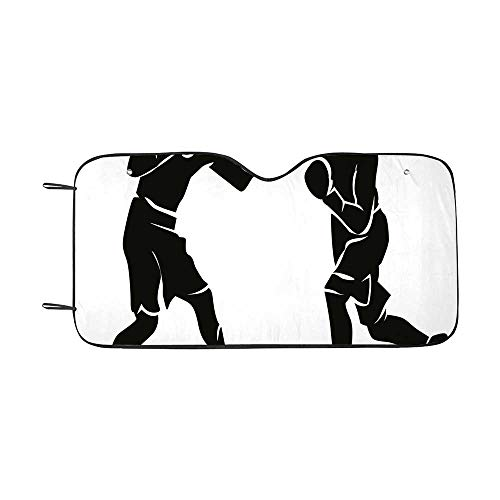 Sports Durable Car Sunshade,Black Silhouettes of Professional Boxers Fighters Combative Exercise Punch Attack Decorative for car,55