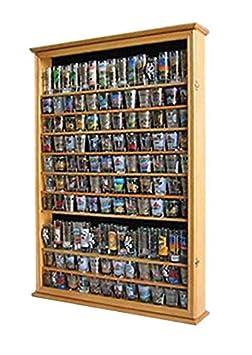 Large 144 Shot Glass Shooter Display Case Rack Holder Cabinet, Holds Hard Rack, Jack Daniel – OAK Finish