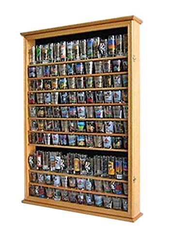 Shelf Glass Oak - Large 144 Shot Glass Shooter Display Case Rack Holder Cabinet, Holds Hard Rack, Jack Daniel - OAK Finish