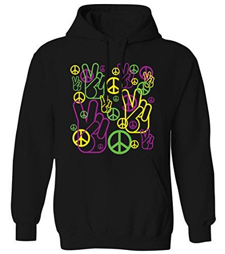 Neon Peace Sign Hand Signal Peace Symbol -Hippie Mens Hoodie Sweatshirt (Black, X-Large)